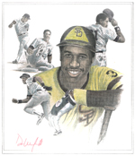 Dave Winfield pencil with colored pencil 150