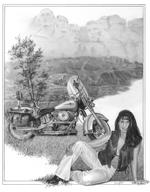 Dawn with bike illustration 150