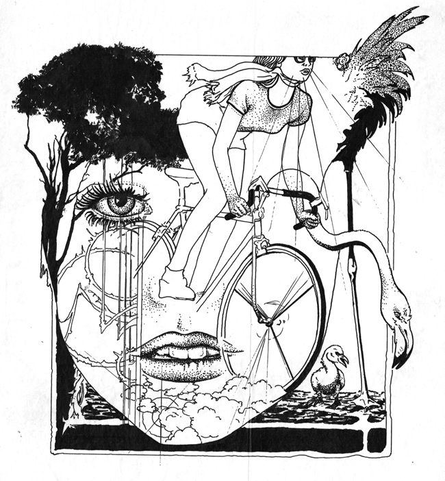 Lady flamingo pen ink sketch 650 web