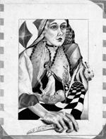 Queen of Diamonds pencil 1973 150