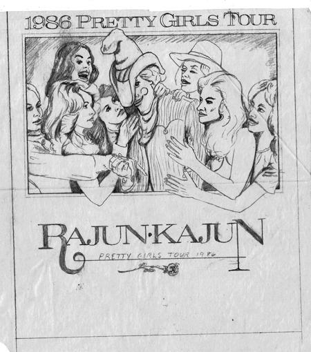 Rajun Kajun Pretty Girls pencil sketch 1986 450